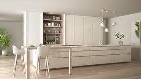 eco友好的公寓、海岛、桌、凳子和开放内阁的有辅助部件的,大窗口,竹子白色最低纲领派厨房 向量例证