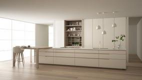 eco友好的公寓、海岛、桌、凳子和开放内阁的有辅助部件的,大窗口,竹子白色最低纲领派厨房 皇族释放例证