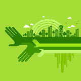 Eco友好的手概念,例证 免版税图库摄影
