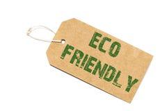 Eco友好的标志在白色背景-商店的纸价牌 免版税库存图片