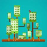 Eco友好的绿色小配件技术导航在平的样式的概念 皇族释放例证