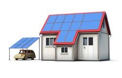 Eco在白色背景隔绝的概念房子 3d回报image.colorful圆筒 库存照片