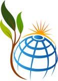 Eco地球叶子商标 向量例证