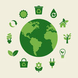 Eco地球和绿色象 库存图片