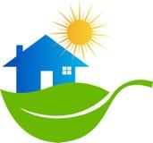 eco家庭图标向量 库存例证