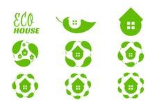 Eco房子叶子商标 象集合圈子形状 r eco不动产的标志 r 库存例证