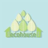 Eco房子商标纸蓝色 图库摄影
