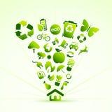 eco房子图标 免版税库存照片