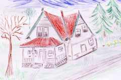 Eco房子概念,绿化有红色屋顶的被绘的房子 免版税库存照片