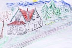 Eco房子概念,绿化有红色屋顶的被绘的房子 库存图片