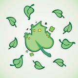 Eco房子,绿色树叶子 向量例证