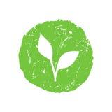 Eco手拉的T恤杉印刷品绿色传染媒介商标 皇族释放例证