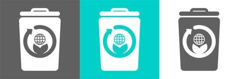 Eco样式平的商标 垃圾桶与地球概述象的传染媒介元素 向量例证