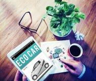Eco汽车电能燃料杂种创新插座概念 库存图片