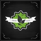 Eco白垩有机自然新鲜食品字法标签  免版税库存照片
