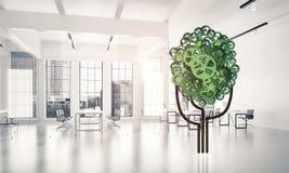 Eco绿化树提出的环境概念作为运作的mecha 免版税库存照片