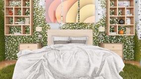 Eco绿色卧室室内设计概念 库存例证