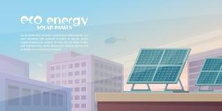 eco能源查出的空白风车 在大厦的屋顶的太阳电池板 库存图片
