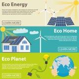Eco能量水平的横幅设置了与绿色家 免版税图库摄影