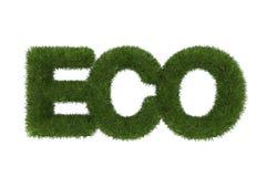Eco词由绿草, 3d制成 图库摄影