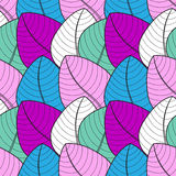 eco项目或纺织品的叶子无缝的样式 库存例证