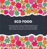 Eco食物背景用莓果,花,叶子 自然生态横幅 装饰逗人喜爱的元素 免版税库存照片
