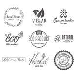 Eco食物,有机生物产品,友好的eco,素食主义者象,生态 设置传染媒介商标、徽章、标签和略写法 向量例证