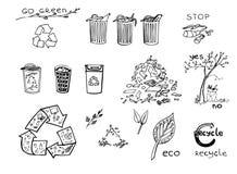Eco återvinninguppsättning Arkivfoto