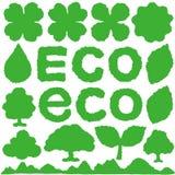 eco ícones de papel rasgados Fotografia de Stock Royalty Free