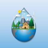 Eco życzliwy pojęcie z wody kropli kształtem Obrazy Royalty Free