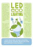 Eco οδηγήσεων που ανάβει την επίπεδη διανυσματική σελίδα προτύπων infographics Στοκ εικόνα με δικαίωμα ελεύθερης χρήσης