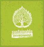 Eco πράσινη βιώσιμη έννοια εμβλημάτων διαβίωσης δημιουργική οργανική διανυσματική στο τραχύ υπόβαθρο Στοκ Φωτογραφίες