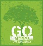 Eco πράσινη βιώσιμη έννοια εμβλημάτων διαβίωσης δημιουργική οργανική διανυσματική στο τραχύ υπόβαθρο Στοκ Εικόνα