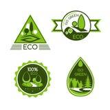 Eco πράσινο και διανυσματικά εικονίδια προστασίας φύσης Στοκ Εικόνες