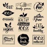 Eco вектора, органические, био логотипы Vegan, естественная еда и знаки питья Рынок фермы, собрание значков магазина Сырцовые ярл иллюстрация штока