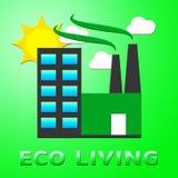 Eco живя представляющ зеленую иллюстрацию жизни 3d Стоковая Фотография