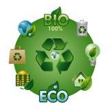 Eco и био комплект значка иллюстрация вектора