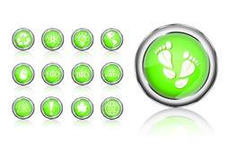 eco идет зеленый комплект иконы Стоковые Изображения