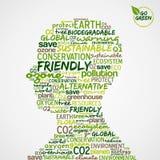 eco облака идет зеленые головные слова формы человека Стоковое Изображение RF