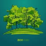 Eco дружелюбное, зеленая концепция энергии, плоский вектор Стоковое Изображение RF