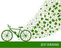Eco управляя концепцией в зеленых цветах Велосипед и след листьев дерева Стоковая Фотография RF