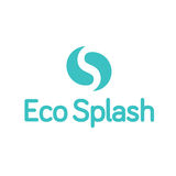 Eco水下落小滴嬴杨飞溅商标 免版税库存照片