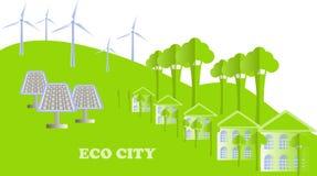 Eco系列 Eco市背景 白色大厦,绿色树,小山,风车,在白色,传染媒介的太阳电池板 免版税库存图片