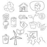 Eco绿化象套在略图例证的环境 库存例证