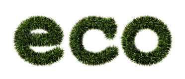 Eco. 3D illustration of growing grass in the form of the words Royalty Free Stock Photo