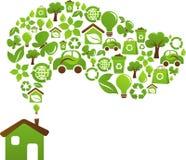 Eco房子概念-绿色能源图标 免版税库存图片