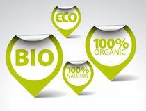 生物eco食物绿色自然有机标签 库存图片