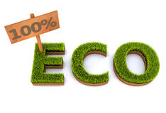 Eco. 100% eco green grass concept Royalty Free Stock Photos