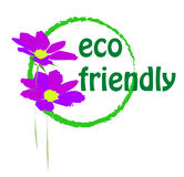 Eco. Friendly logo with two purple cosmos flowers Royalty Free Stock Photo