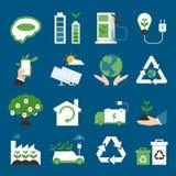 详细eco生态学环境高度图标 免版税库存照片